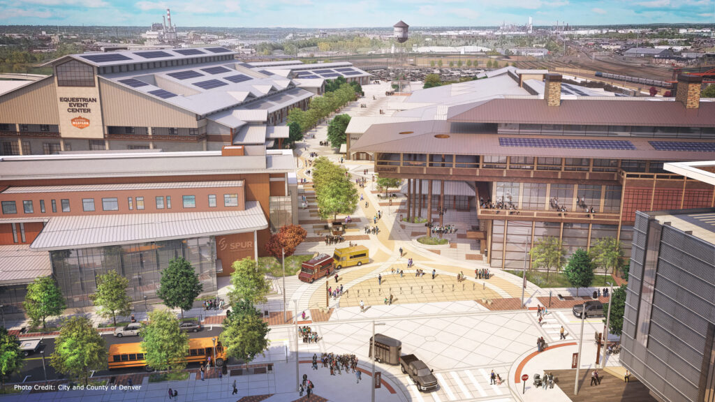 Aerial rendering of the National Western Center campus